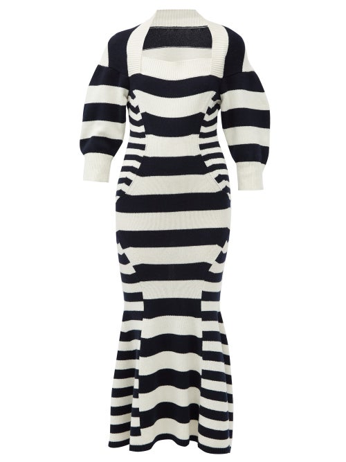 Alexander Mcqueen - Square-neck Striped Wool-blend Sweater Dress - Womens - White Multi