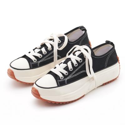 Camille's 韓國空運-正韓製-丹寧帆布綁帶低筒厚底休閒鞋-黑色