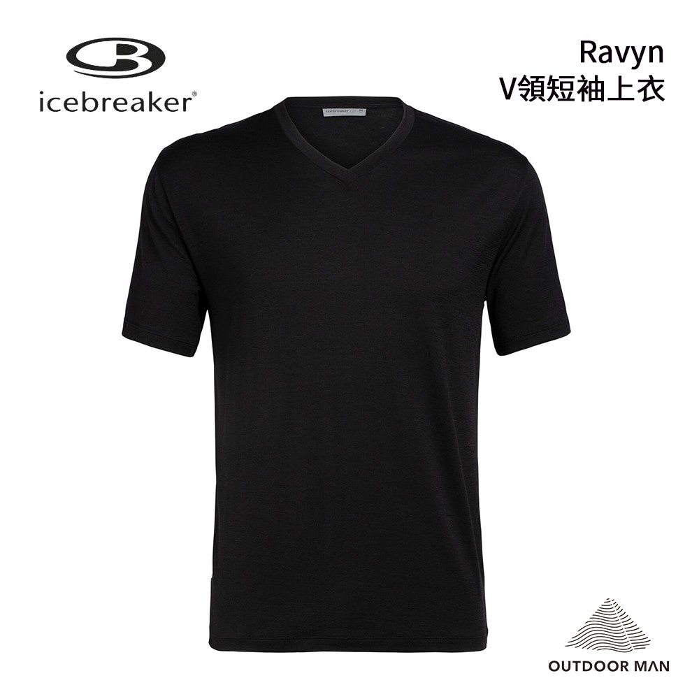 [Icebreaker] Men's Ravyn V領短袖口袋上衣/黑(IB105050-001)