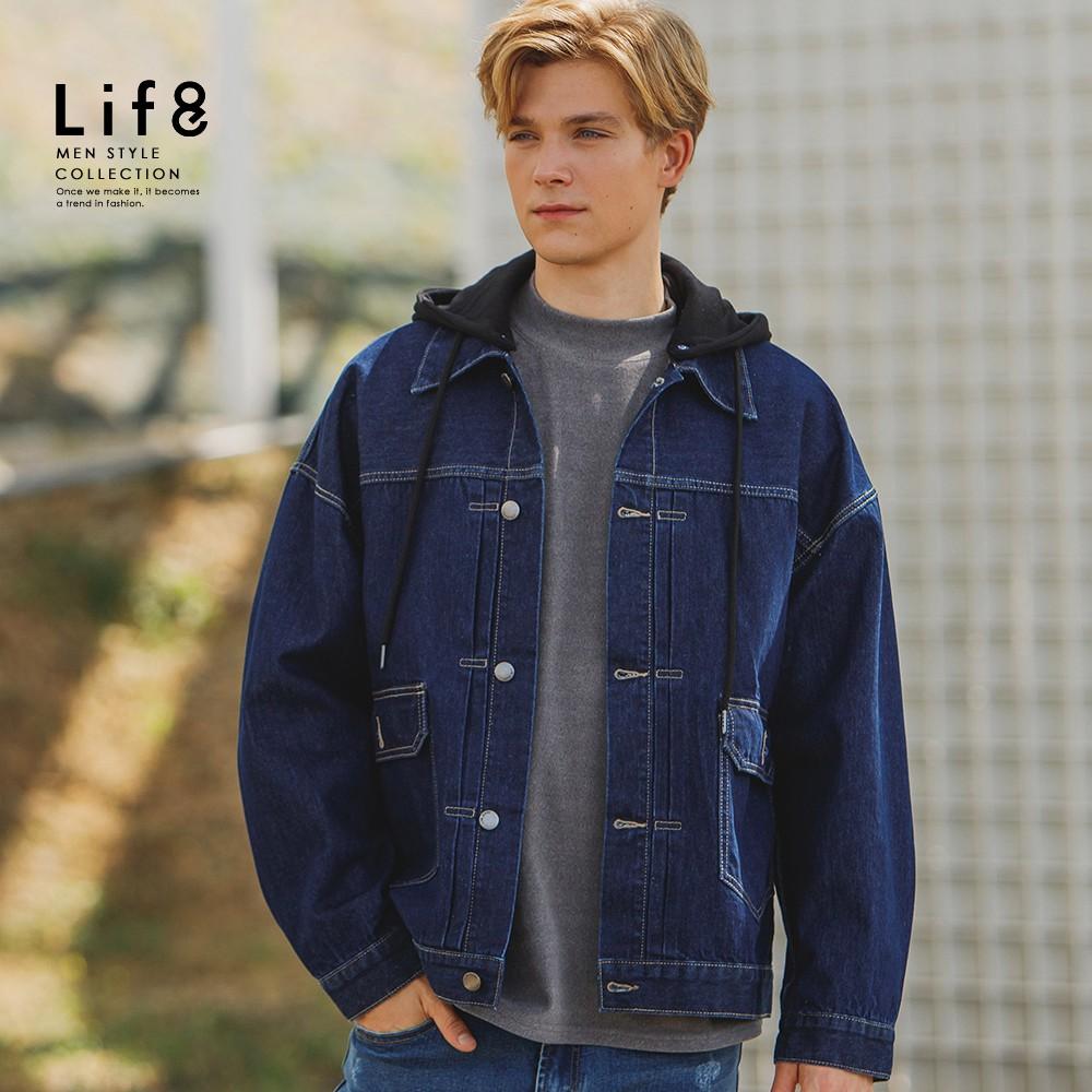 LIFE8-Casual 兩用帽可收 連帽牛仔外套 (寬版)-10400 廠商直送