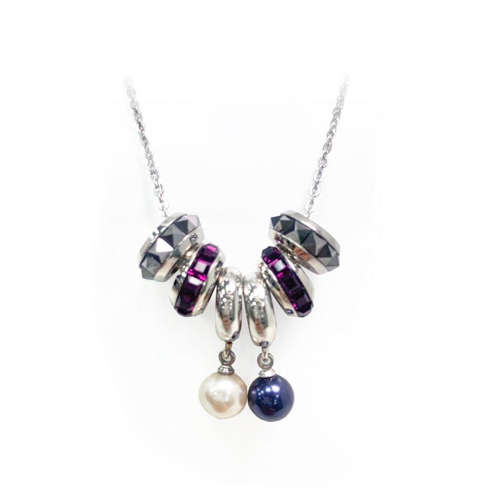 【Brosway】DIY組合 珍珠墜飾項鍊-藍+白珍珠