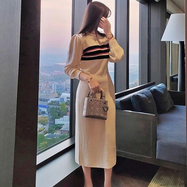 OL洋裝.禮服裙7619#冬季新款韓版休閑氣質修身長款針織拼色條紋毛衣連身裙NE49韓衣裳