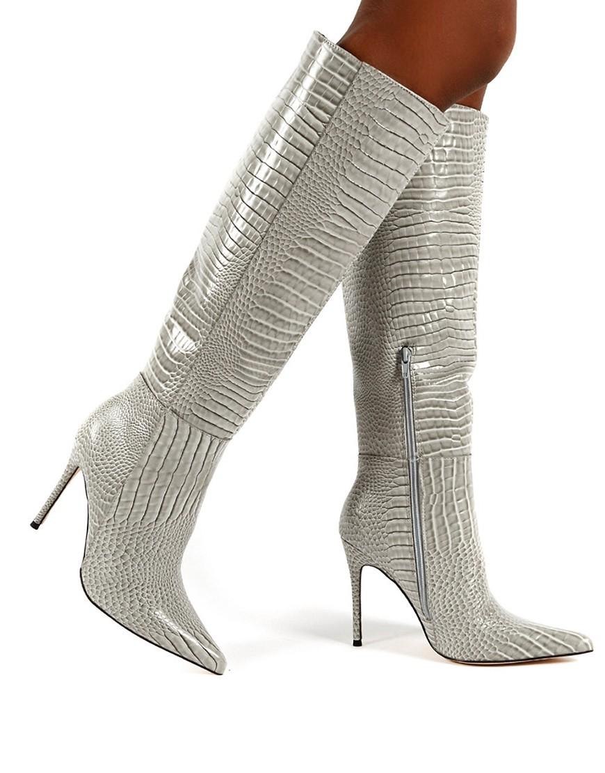 Public Desire Aimi knee boots in grey croc