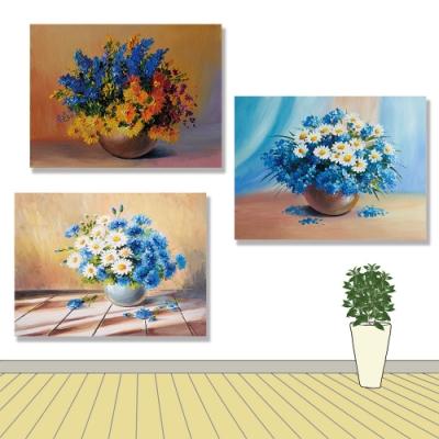 【24mama 掛畫】三聯式 花瓶 桌子 牆壁 印象派 秋天 靜物 美麗 雛菊 花朵 無框畫-40x30cm(多彩鮮花)
