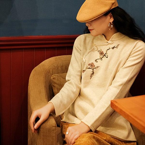 羊毛針織衫 琵琶扣刺繡毛衣 套頭內搭長袖上衣/2色-夢想家-1221
