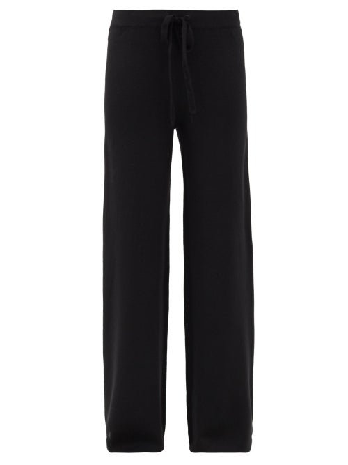 Co - Drawstring Merino-wool Wide-leg Trousers - Womens - Black