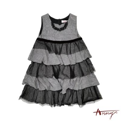 Annys安妮公主-細格紋混金蔥秋冬款網紗層次蛋糕背心裙*8210黑色