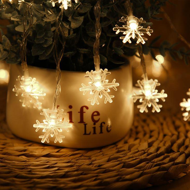 [Hare.D]雪花燈串 電池款 1米10燈 防水銅線燈 燈串 LED燈 戶外聖誕裝飾品 聖誕節 節慶燈具