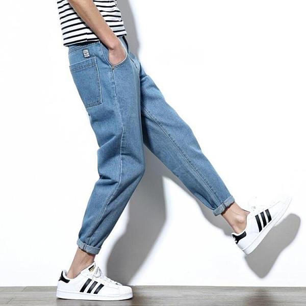 男士褲子 夏季淺色休閒牛仔褲男士韓版潮流九分褲直筒寬鬆哈倫男生小腳褲子