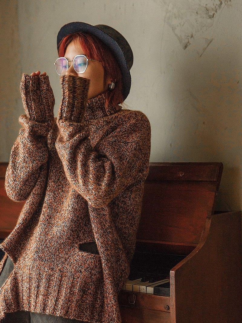 焦糖雜色 80%羊毛棉混紡 高領慵懶風Oversize毛衣 花紗套頭針織衫