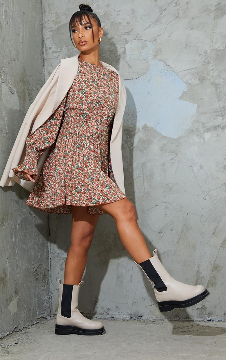 Nude Floral Print Pleated Skirt Detail Skater Dress