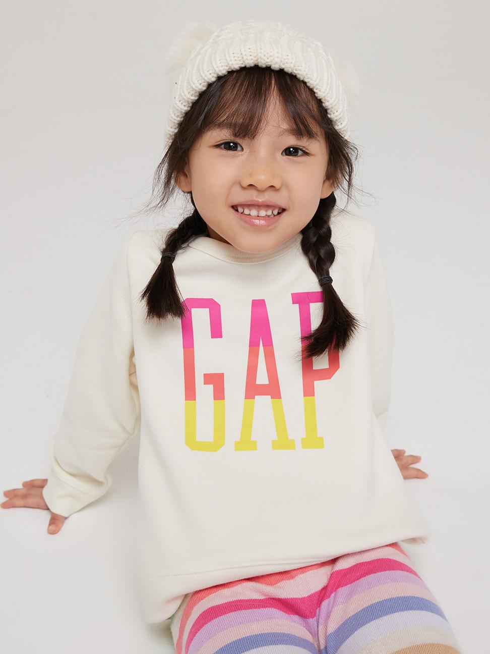 幼童 Logo碳素磨毛抓絨圓領休閒上衣