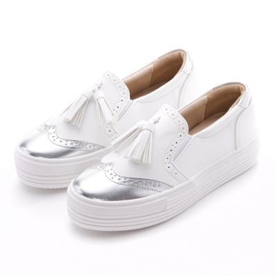 Camille's 韓國空運-正韓製-牛津雕花流蘇厚底小白懶人鞋-銀白色
