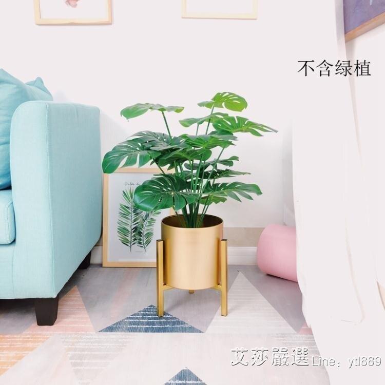 花架 北歐輕奢簡約子金色歐式現代客廳室內落地式綠蘿金屬花盆栽架[優品生活館]
