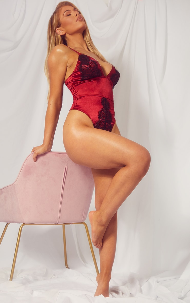 Dark Red Triangle Satin And Lace Body