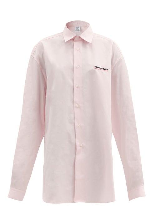 Vetements - Haute Couture-logo Oversized Cotton-poplin Shirt - Womens - Light Pink