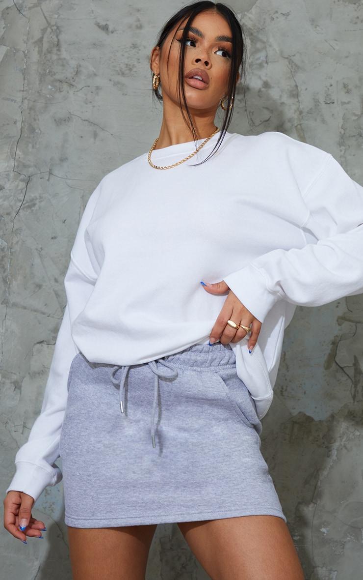 Grey Sweat Drawstring Waist Mini Skirt