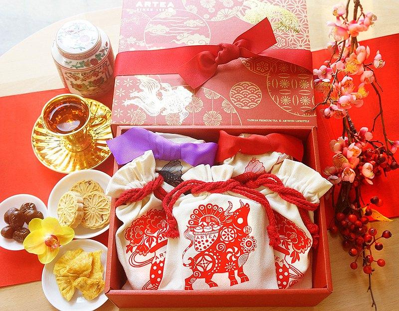 端午禮盒【金玉滿堂 富貴來】2款好茶+3款人氣茶食大禮盒