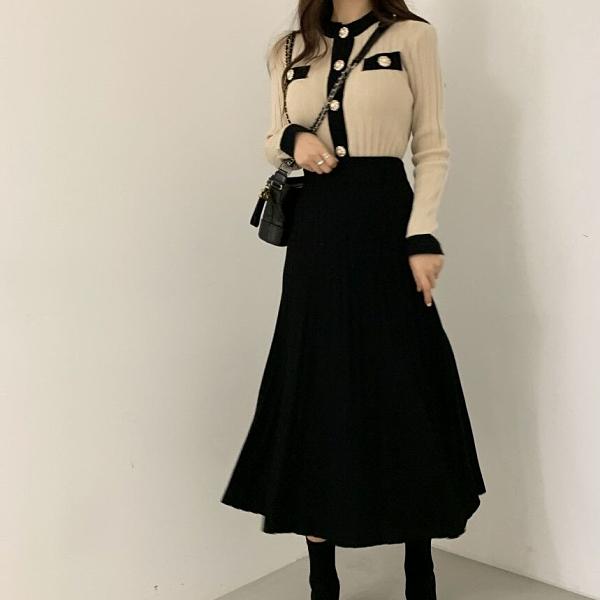 超殺29折 韓國風撞色開釦毛衣百褶半身裙套裝長袖裙裝