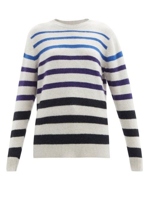 The Elder Statesman - Gradient-stripe Cashmere Sweater - Womens - Blue White