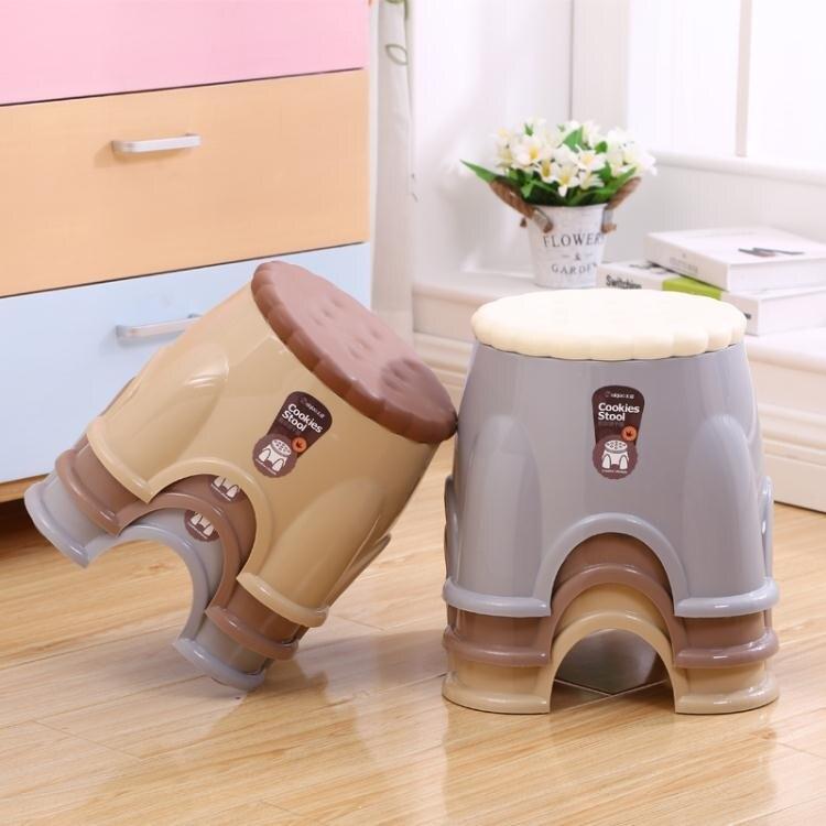 家用加厚塑膠凳子時尚茶幾凳兒童矮凳子成人小板凳圓凳換鞋凳椅子   ATF