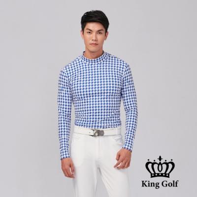 【KING GOLF】膠標LOGO素面刷毛款長袖內搭高領衫-藍色