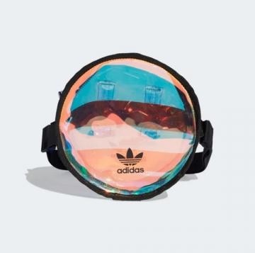 ADIDAS ROUND WAIST BAG 側背 雷射 小圓包 透明 斜背包 FM3262