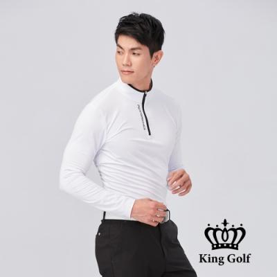 【KING GOLF】拉鍊撞色印圖素面小立領拉鍊長袖POLO衫-白色