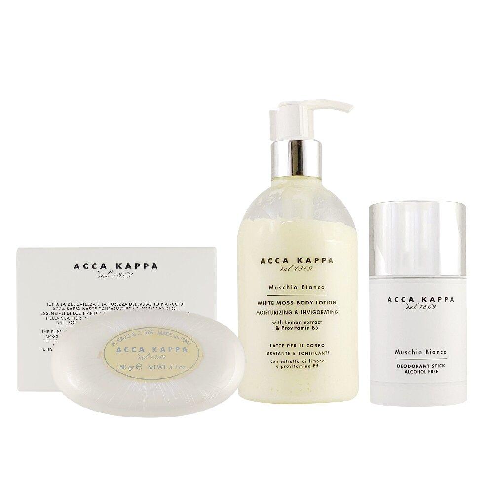 Acca Kappa 套組組合 白麝香香皂150g+美體保濕乳300ml+香體膏75ml