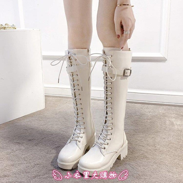 長靴 拉鏈女鞋新款春秋冬靴子女皮面女靴中跟粗跟中高筒休閒馬丁靴百搭 - 小衣里大購物