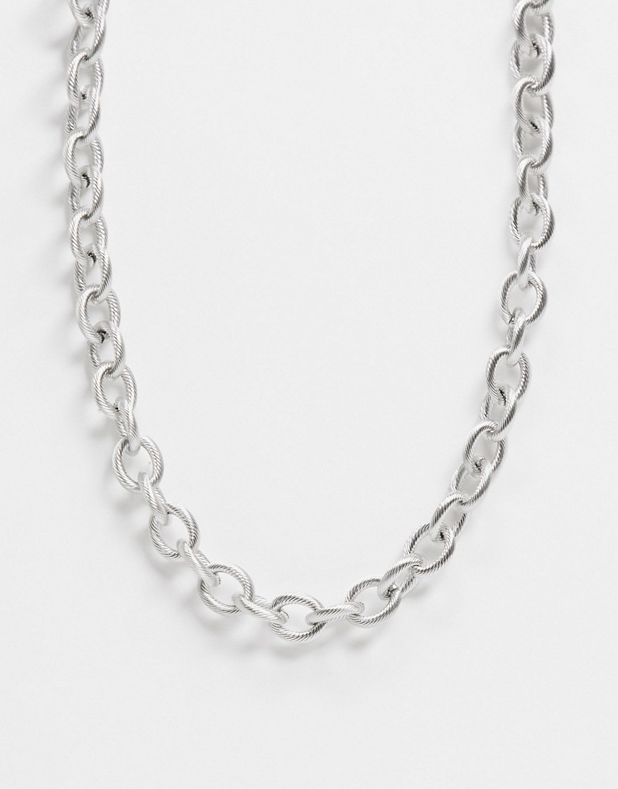 ASOS DESIGN stainless steel short chunky 13mm neckchain with textured links in silver tone