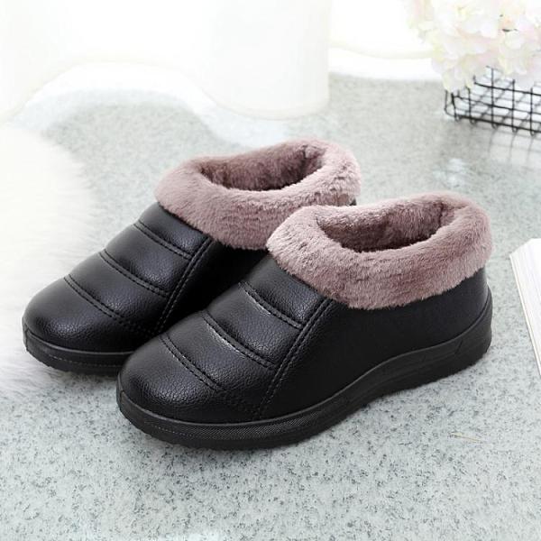 老北京布鞋女鞋女棉鞋加厚加絨棉靴防滑軟底PU皮面防水媽媽鞋孕婦