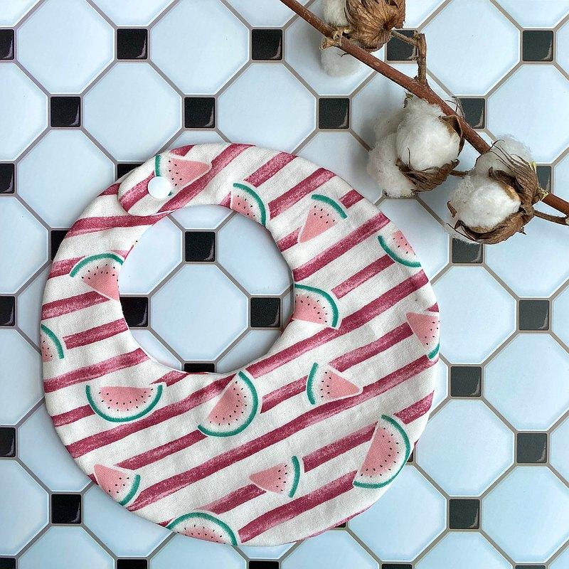 圍兜-條紋西瓜款韓國二重紗圓兜