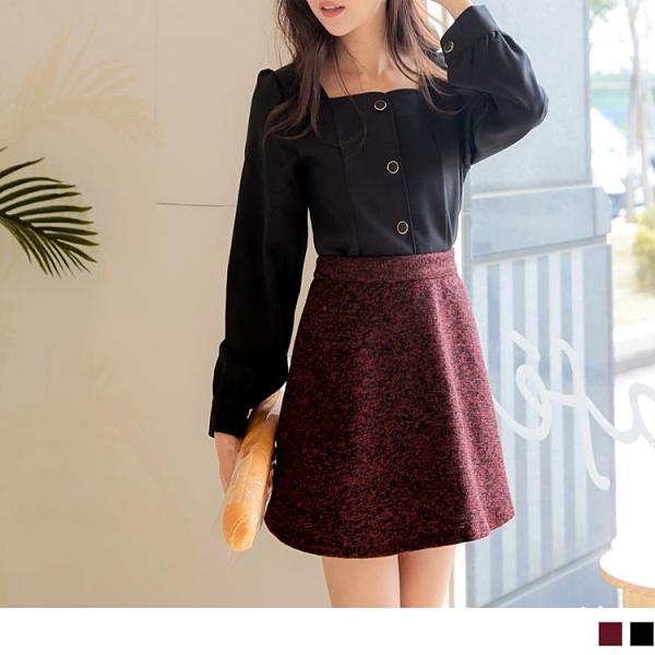 《CA2223-》保暖針織配色修身A字短裙 OB嚴選