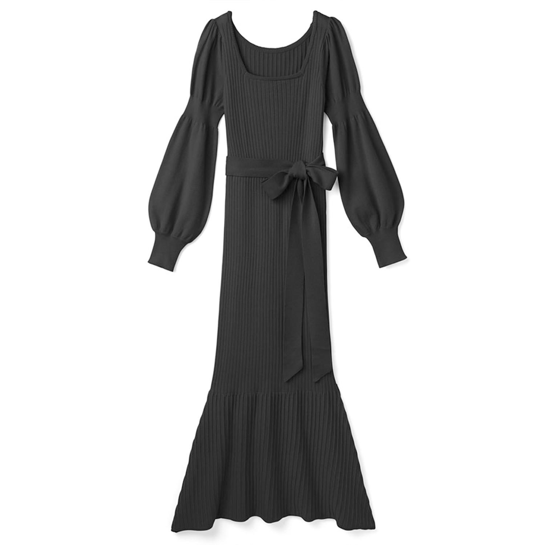 日本 GRL - 典雅方領公主袖修身洋裝-黑