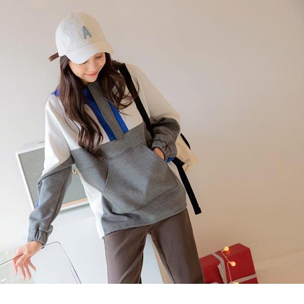 《AB14335》保暖太空棉配色拼接拉鍊檔片連帽長袖上衣 OrangeBear
