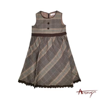 Annys安妮公主-斜格紋假鈕扣秋冬款背心裙*9298咖啡