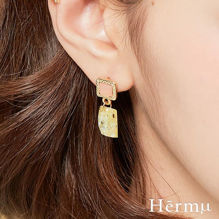 晶透之夏寶石垂墜耳環(2色)-A60024
