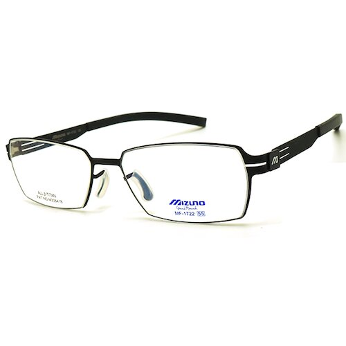 【MIZUNO】美津濃 鈦金屬 光學眼鏡鏡框 MF-1722 C5 薄鈦 無螺絲 長方形鏡框 眼鏡 55mm 黑