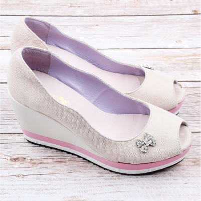 【ㄅㄆㄇGOOD】閃耀超高厚底魚口鞋-淡粉(L021)
