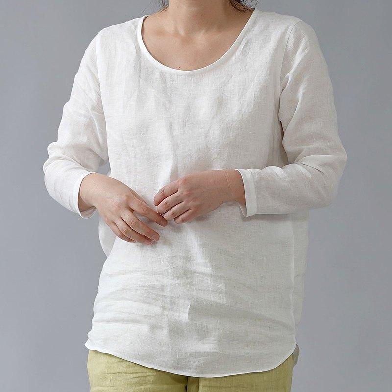 L尺寸上衣--wafu --Amajo裝襯衫輕質亞麻內部女衫/白色p008a-wht1-L