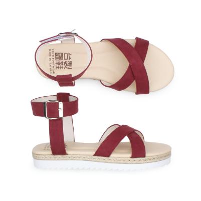【台福製鞋】寬面交叉質感涼鞋-紫紅(T3725)