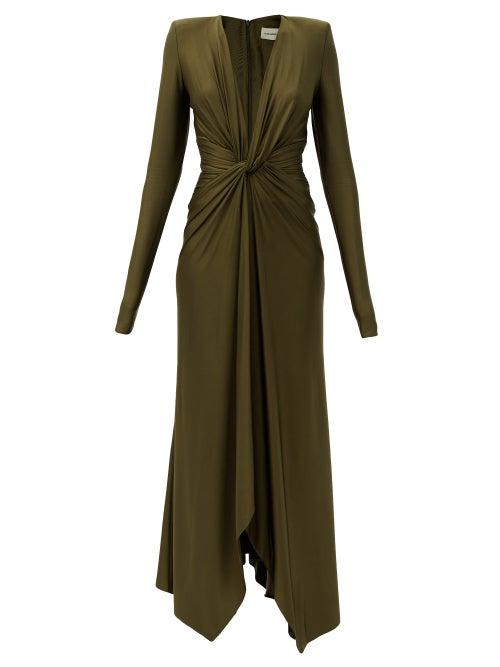 Alexandre Vauthier - Plunge-neck Gathered Jersey Midi Dress - Womens - Khaki