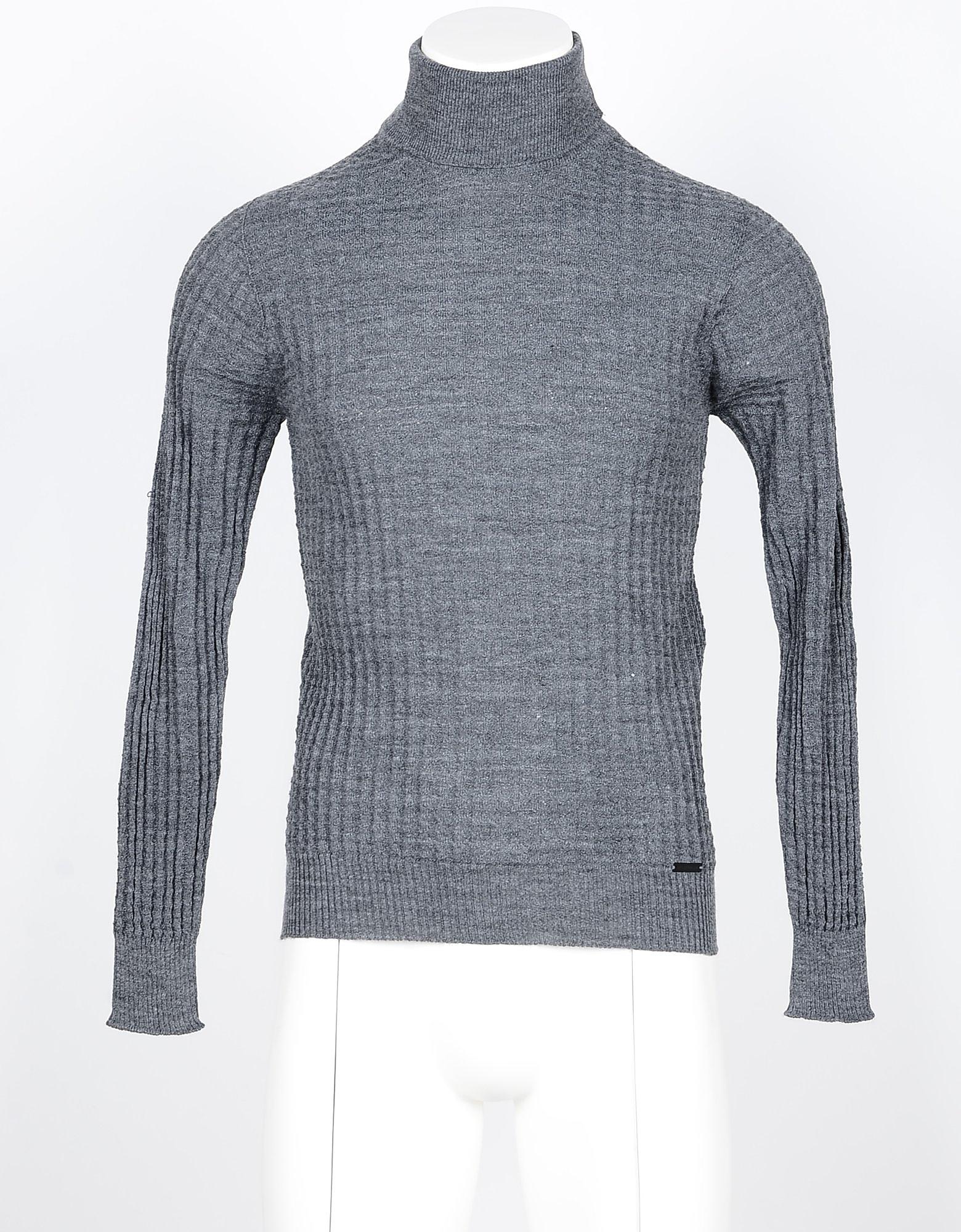 Takeshy Kurosawa Knitwear, Gray Blue Men's Turtleneck Sweater