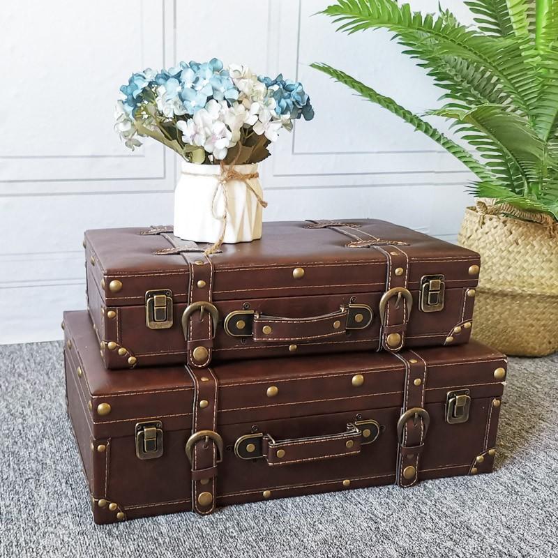 【xww】歐式經典皮革手提箱服裝店展示架裝飾品木箱陳列棕色皮箱收納箱子