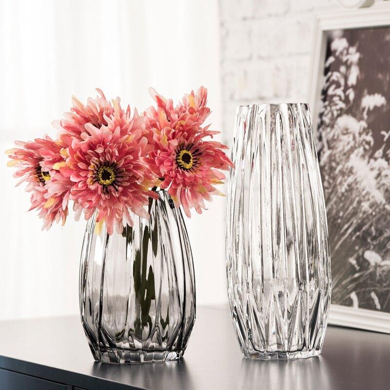 新年鉅惠▶花瓶 歐式簡約花瓶 豎棱幾何條紋玻璃花瓶 客廳家居裝飾干花插花瓶高款