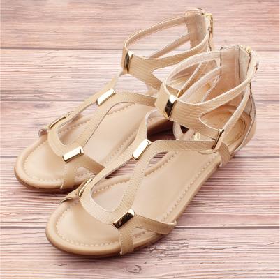 【ㄅㄆㄇGOOD】質感設計異材質混搭涼鞋-卡其(D006)