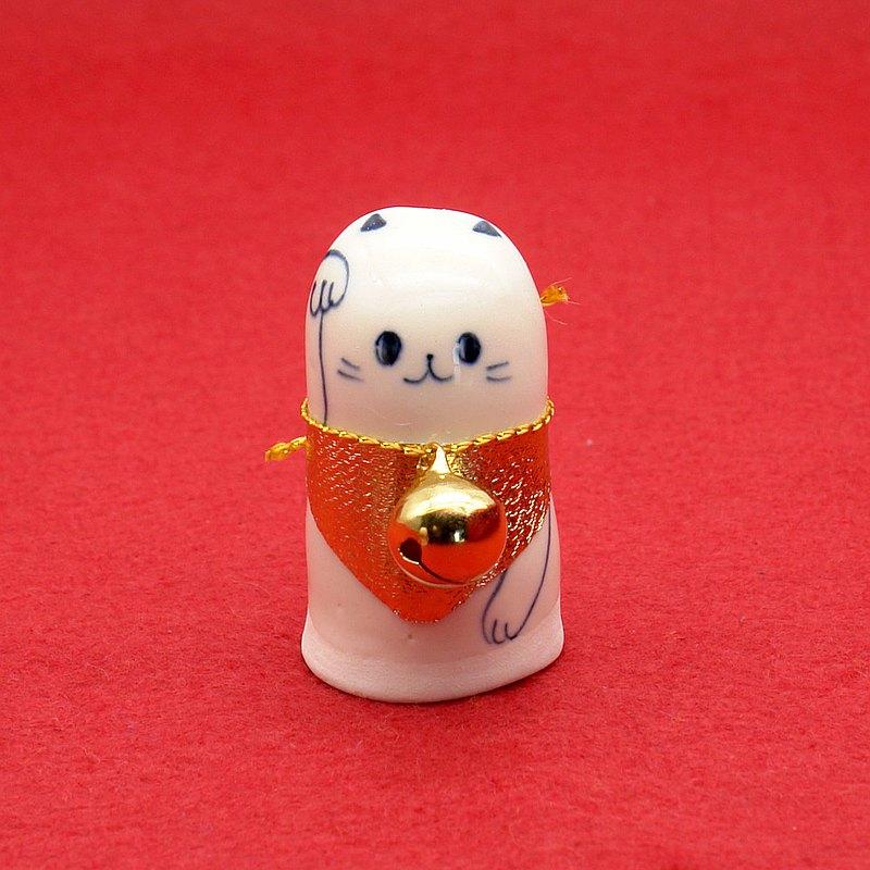 手工陶瓷娃娃S尺寸帶鈴鐺的招財貓