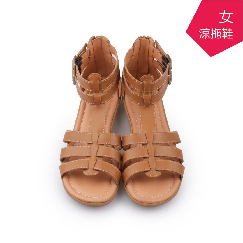 【A.MOUR 經典手工鞋】女羅馬涼拖鞋 - 棕(7210)