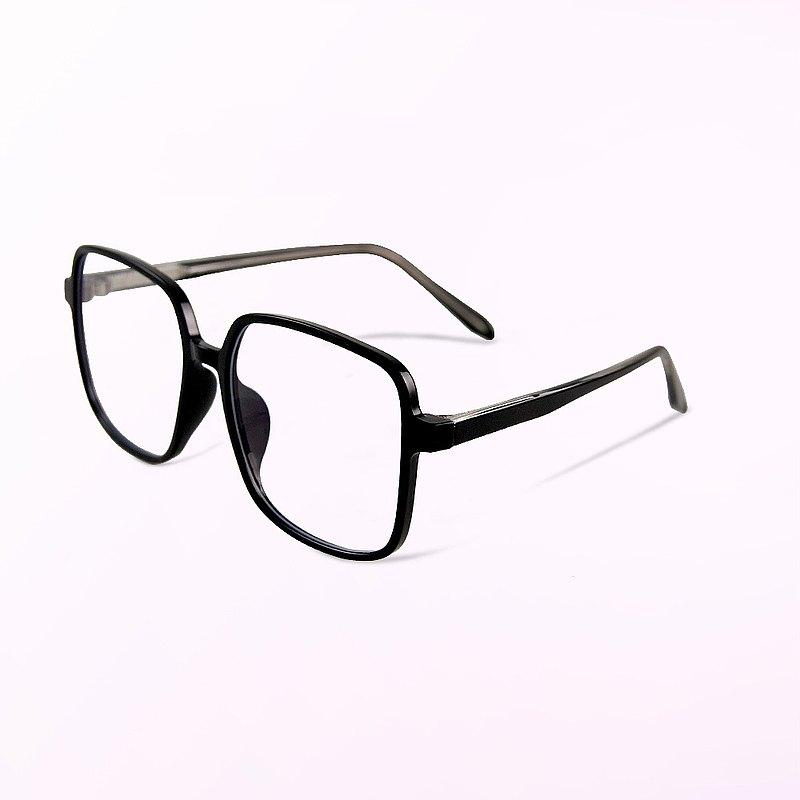 初曉的長夜微明│爵士黑TR90輕量方框透視鏡腳UV400濾藍光眼鏡